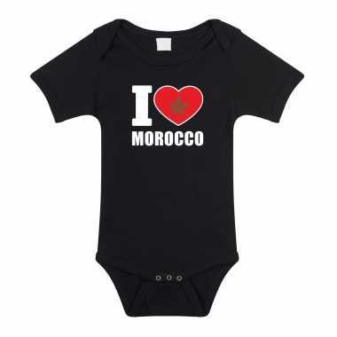 Meisjes i love morocco baby rompertje zwart marokko jongen/meisje