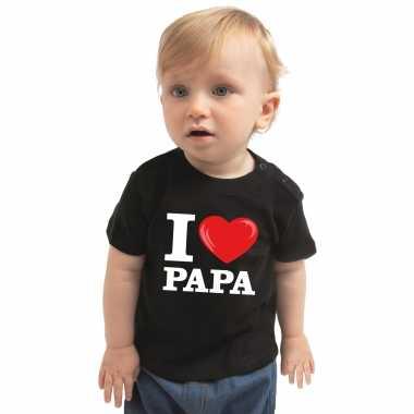 Meisjes i love papa cadeau t-shirt zwart peuter jongen meisje