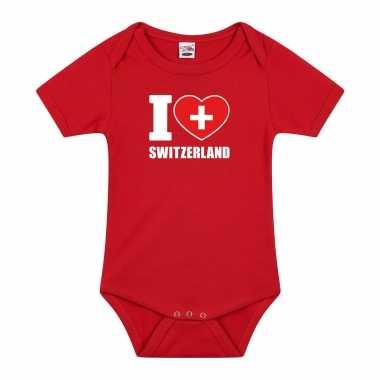 Meisjes i love switzerland baby rompertje rood zwitserland jongen/meisje