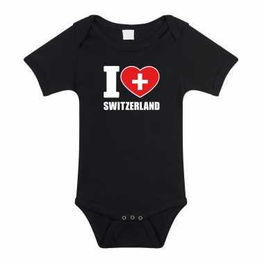 Meisjes i love switzerland baby rompertje zwart zwitserland jongen/meisje