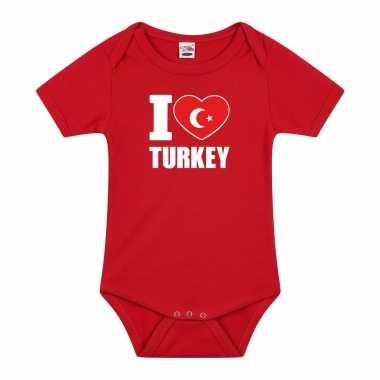 Meisjes i love turkey baby rompertje rood turkije jongen/meisje