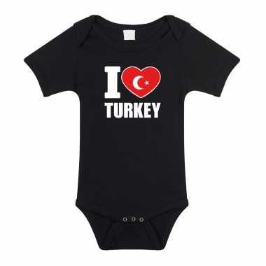 Meisjes i love turkey baby rompertje zwart turkije jongen/meisje