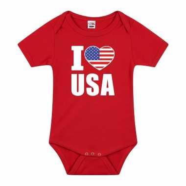 Meisjes i love usa baby rompertje rood amerika jongen/meisje