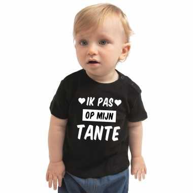 Meisjes ik pas op mijn tante cadeau t shirt zwart baby jongen/meisje