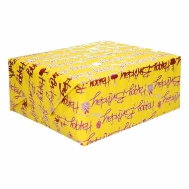 Meisjes inpakpapier holografisch geel tekst happy birthday 200 x 70 cm