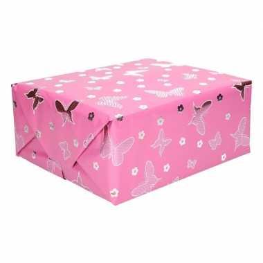 Meisjes inpakpapier holografisch met roze vlinders 200 x 70 cm