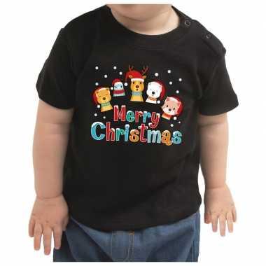 Meisjes kerstshirt merry christmas diertjes zwart peuter jongen/meisj