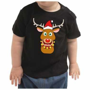 Meisjes kerstshirt rufolf rendier zwart peuter jongen/meisje