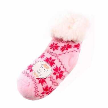 Meisjes kinder huissokken roze/fuchsia