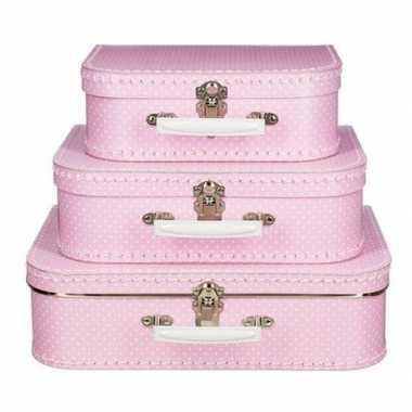 Meisjes kinderkoffertje kraamcadeau roze met stippen 25 cm