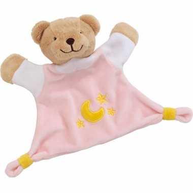 Meisjes knuffeldoekje beer roze