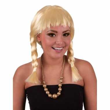 Meisjes korte blonde pruik met vlechtjes