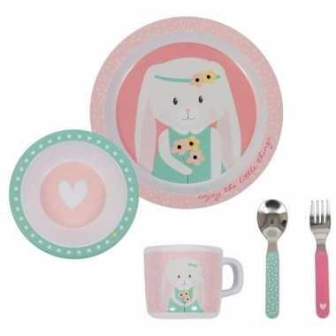 Meisjes kraamkado baby servies konijn roze