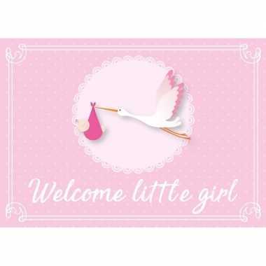 Meisjes meisje geboren ansichtkaart wenskaart ooievaar kraamcadeau