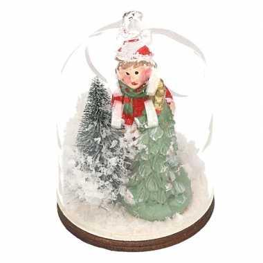Meisjes meisje met boom in sneeuwbol kerstversiering hangdecoratie 8 cm