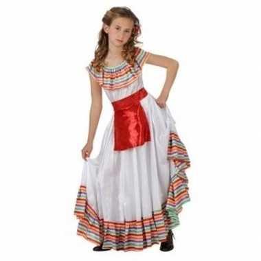 Meisjes mexicaans meisje kostuum met rood schortje