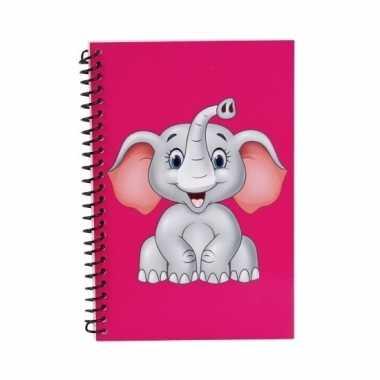 Meisjes olifanten kinder/peuters schriften roze 18cm