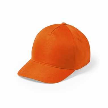 Meisjes oranje 5 panel baseballcap voor kinderen