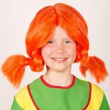 Meisjes oranje vlechten pruik voor kinderen