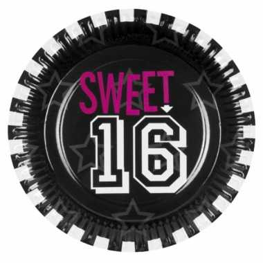 Meisjes papieren sweet 16 feestborden