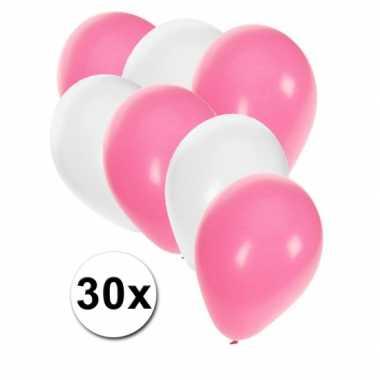 Meisjes party ballonnen wit en baby roze