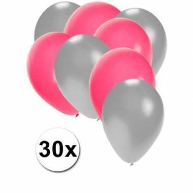 Meisjes party ballonnen zilver en roze
