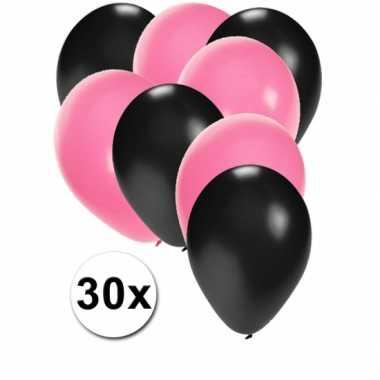 Meisjes party ballonnen zwart en lichtroze