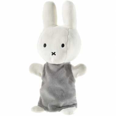 Meisjes pluche nijntje handpop knuffel wit grijs 26 cm baby