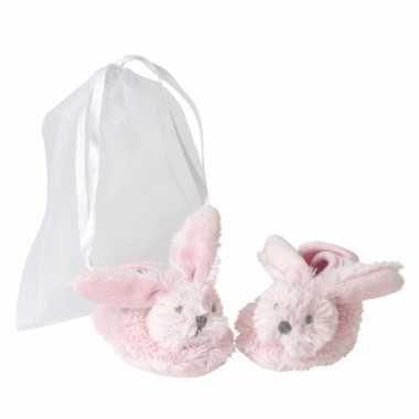 Meisjes pluche roze konijnen baby slofjes