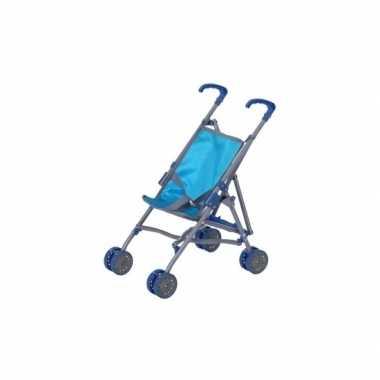 Meisjes poppen speelgoed buggy/wagen blauw
