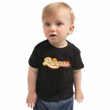 Meisjes princess koningsdag t shirt zwart peuter jongen/meisje