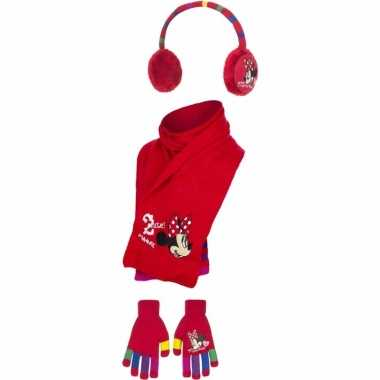 Meisjes rode minnie mouse winterset 3 delig