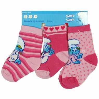 Meisjes roze baby sokken smurfen 3 pak