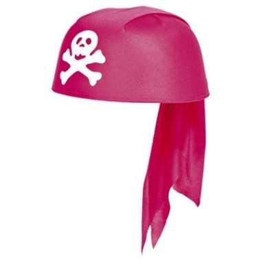 Meisjes roze bandana hoed piraten thema