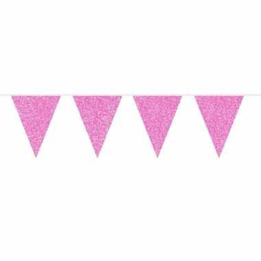 Meisjes roze glitter vlaggenlijn 10 meter