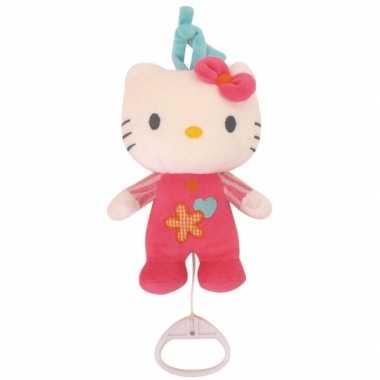 Meisjes roze knuffel hello kitty met muziek