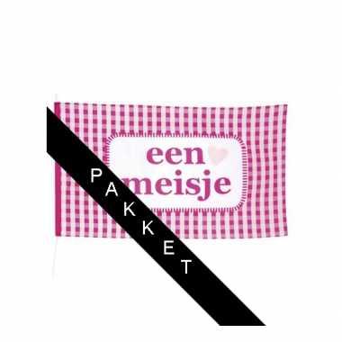 Meisjes roze versiering pakket geboorte meisje