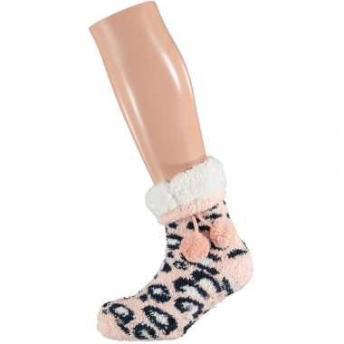 Meisjes roze/witte luipaardvlekken gevoerde huissokken/slofsokken mei