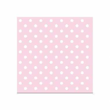 Meisjes servetten met stippen roze 3-laags 20 stuks