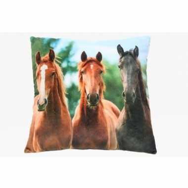 Meisjes sierkussen met paarden dierenprint 35 cm