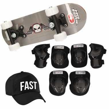 Meisjes skateboard set voor kinderen l 9 10 jaar/valbescherming/fast pet/skateboard met print 43 cm grijs