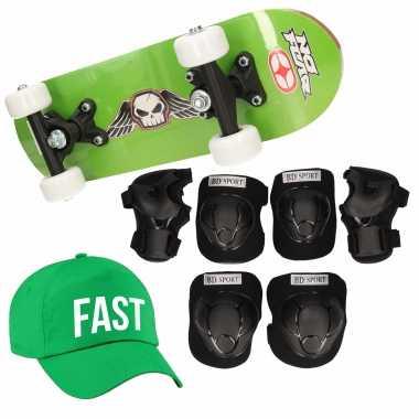 Meisjes skateboard set voor kinderen l 9 10 jaar/valbescherming/fast pet/skateboard met print 43 cm groen