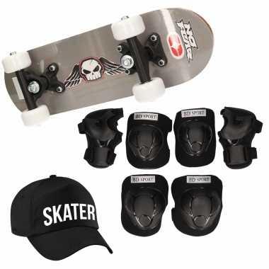 Meisjes skateboard set voor kinderen l 9 10 jaar/valbescherming/skater pet/skateboard met print 43 cm grijs