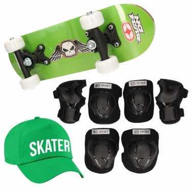 Meisjes skateboard set voor kinderen l 9 10 jaar/valbescherming/skater pet/skateboard met print 43 cm groen