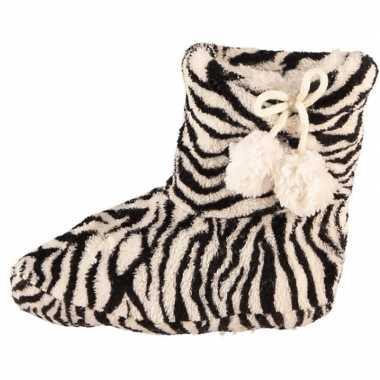 Meisjes sloffen met zwart/witte zebra print