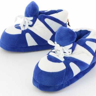 Meisjes sneaker pantoffels/sloffen voor volwassenen blauw/wit 39/41