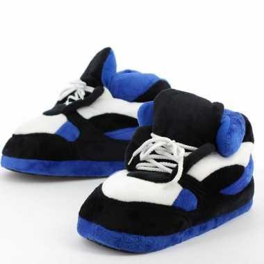Meisjes sneaker pantoffels/sloffen voor volwassenen blauw/zwart 45/47