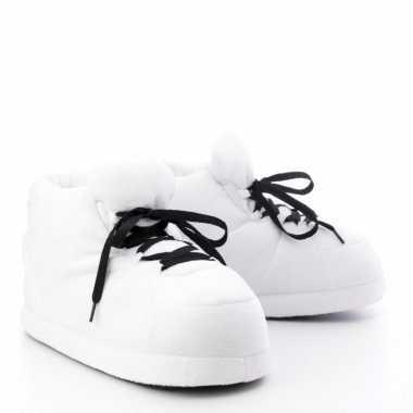 Meisjes sneaker pantoffels/sloffen voor volwassenen wit maat 37/38