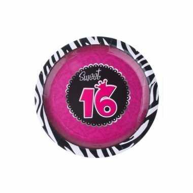 Meisjes sweet 16 wegwerp bordjes 8 stuks