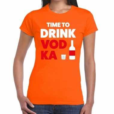 Meisjes time to drink vodka tekst t-shirt oranje dames